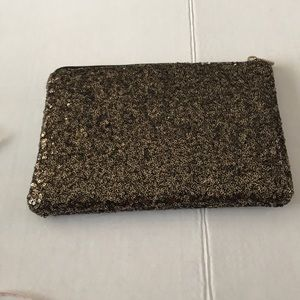 Handbags - Gold Sequined Padded Makeup Pouch